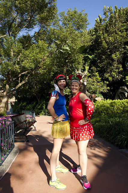 @according2kelly and @angryjulie in @runTeamSparkle Skirts for the @runDisney Wine and Dine Half Meet-Up at Epcot