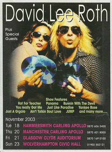 November 2003 David Lee Roth UK Tour