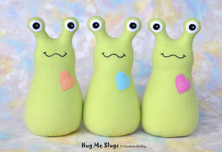 Slugterra and pear green fleece Hug Me Slugs, original stuffed animal art toy by Elizabeth Ruffing