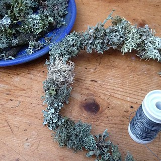 lichen wreath making