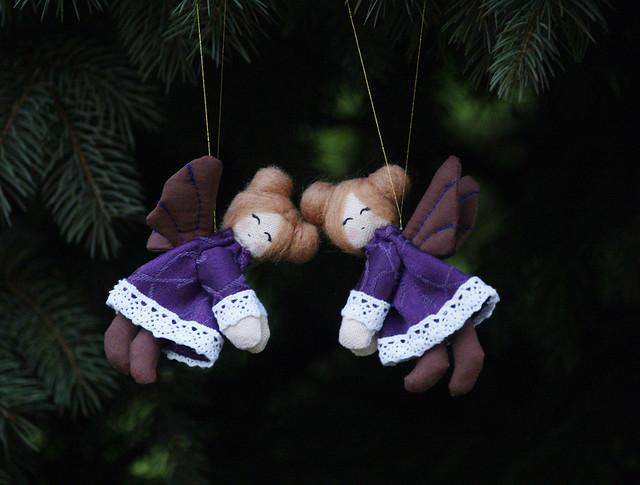 Christmas Fairies Twins in purple