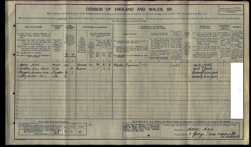 Harry Hair 1911 census
