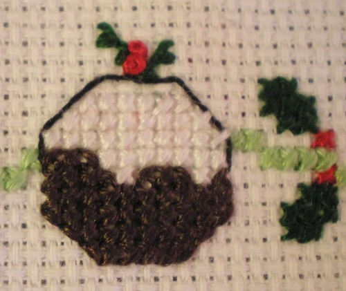 Cross Stitch Christmas Pudding and Holly