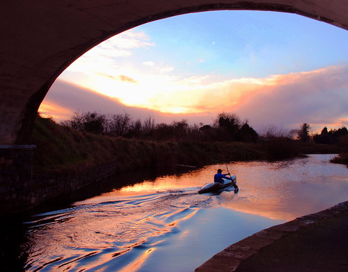 bridge blue autumn sunset sky man reflection water stone evening canoe royalcanal