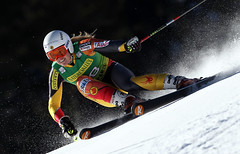 Erin Mielzynski in action during World Cup giant slalom in Aspen.