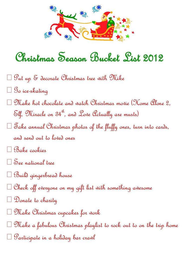 Christmas Season Bucket List 2012