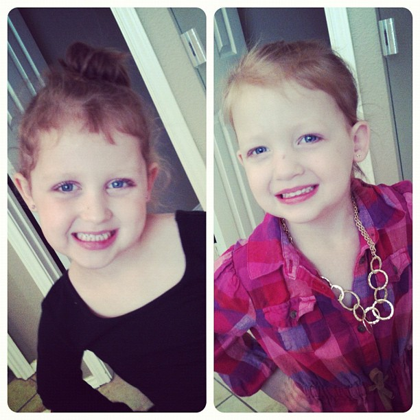 #aidkaid and #sawyergrace are ready for the day. Make up and all bc Aidan has a #dance thing this morning