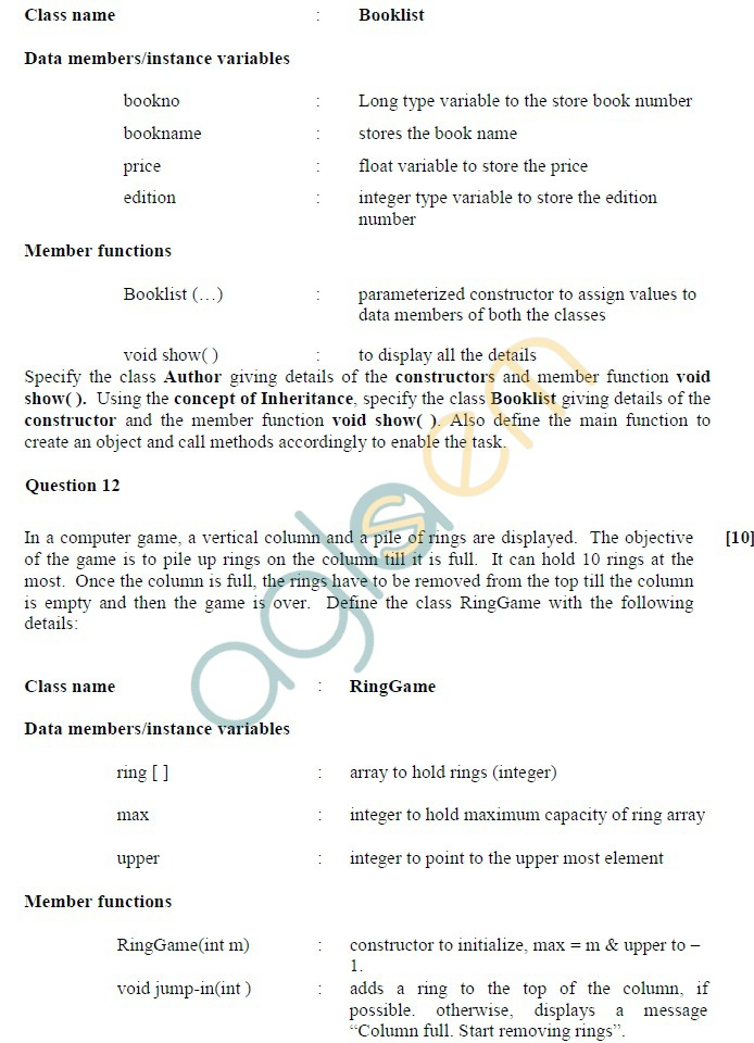 ISC Class 12 Computer Science Sample Paper