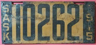 SASKATCHEWAN 1915 LICENSE PLATE