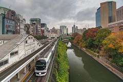 Train and river in Tokyo