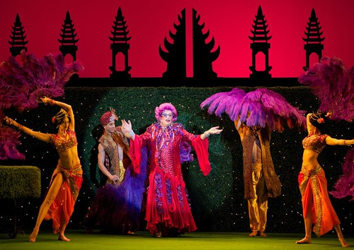Dame Edna at the height of her powers on her farewell live tour, Eat, Pray, Laugh!
