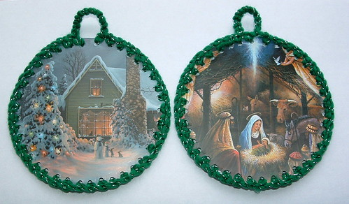 Round Recycled Christmas Card Ornaments