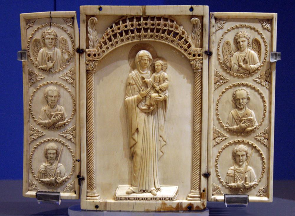 Virgin Hodegetria, Triptych, Ivory Icon, Byzantine 10th Century