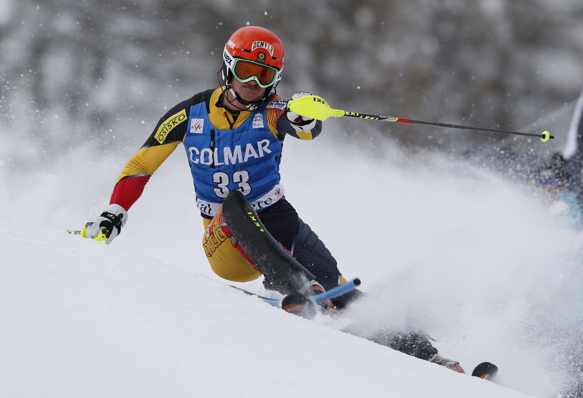 Trevor Philp races slalom in Val d'Isère, France.