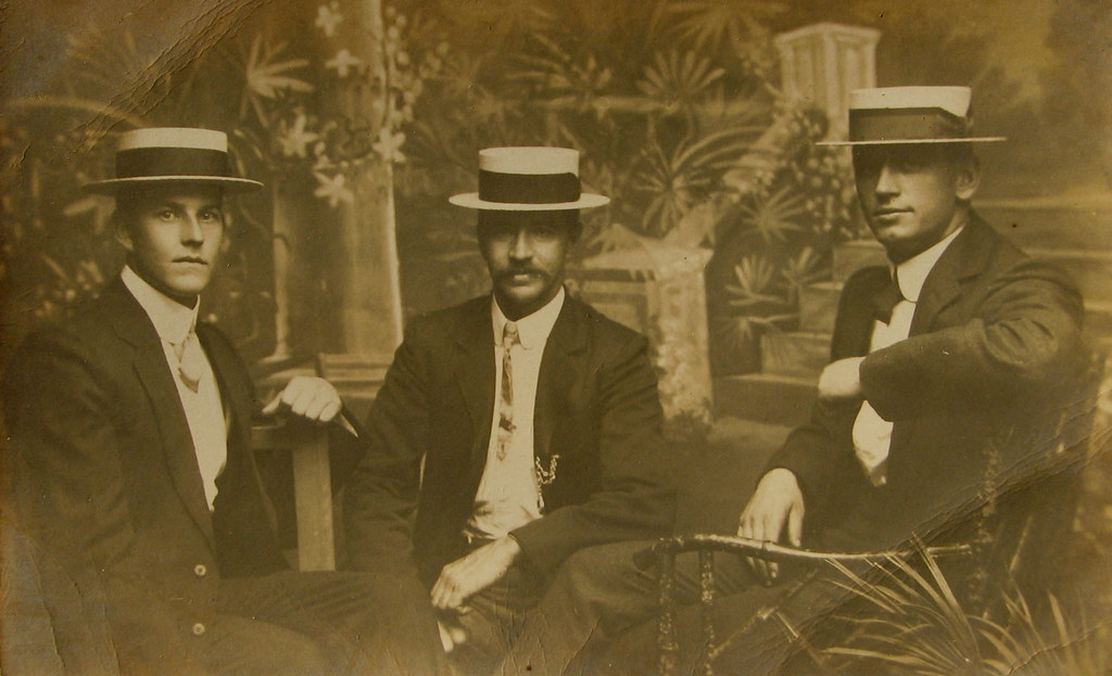846f7496f70 ... Three Young Men in Boater Hats (1900s)