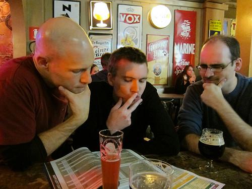 the boys deciding on beer