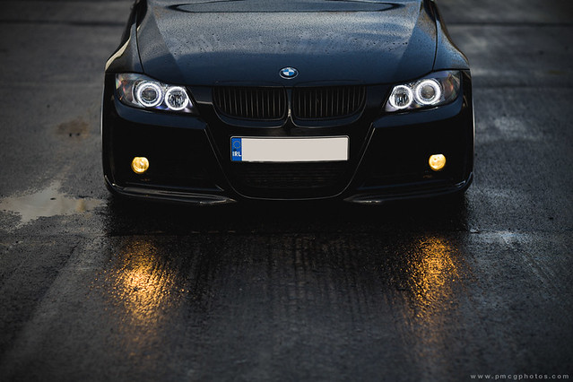 bmw e90 headlights with led angel eyes hid kit. Black Bedroom Furniture Sets. Home Design Ideas