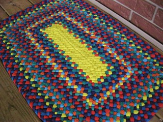 Custom Rectangle Braided Rug in Circus Colors