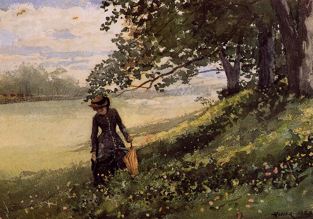 Young Woman with a Parasol by Winslow Homer, 1880