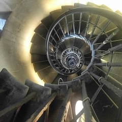 Downward spiral. Lots of steps, tight space. Inside Monument. #London