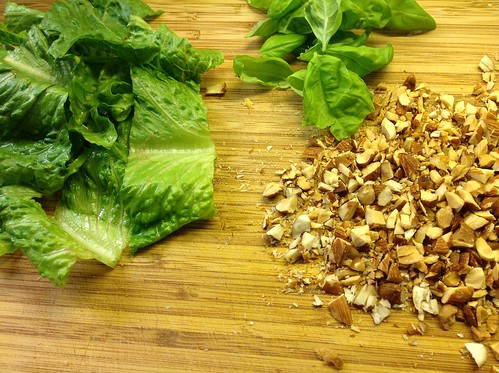 Romaine, basil, and chopped almonds