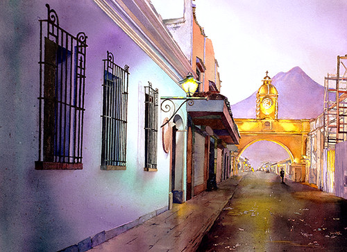 Watercolor painting of Antigua, Guatemala