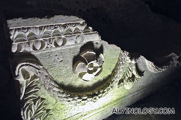 This coffin has intricate designs on it