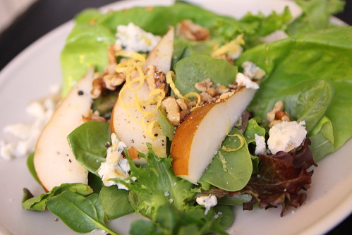 Pear and Maytag Blue Cheese Salad with Walnuts