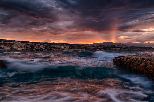 sunset sea sky clouds rocks waves greece crete rethymno κρήτη ελλάδα σύννεφα κύματα θάλασσα δύση βράχια ρέθυμνο ουρανόσ