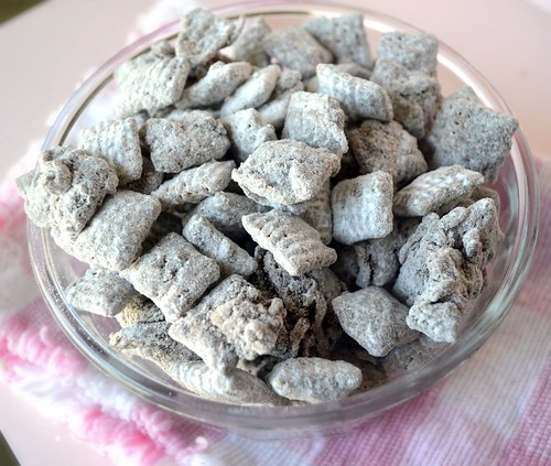 top view of german chocolate puppy chow