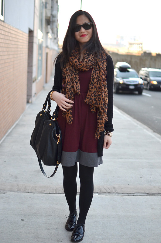 burgundy dress, tights, with black patent oxford shoes