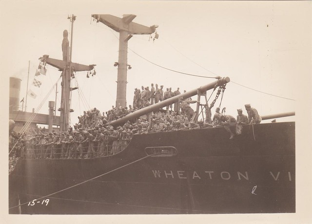 <strong>SS Wheaton Victory arriving at New York August 3, 1946 </strong><br />  Image courtesy of Colin Smith.