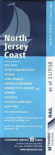 NJ Transit North Jersey Coast Line schedule cover
