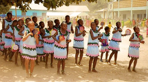 The school cultural group performs a traditional dance as part of the St Louis Nursery and Primary School interhouse competition