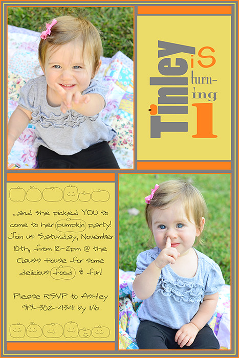 Tinley's 1 year birthday party invitationw