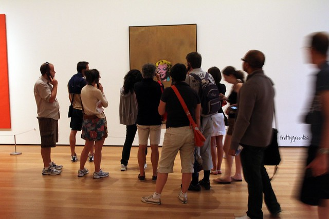 People responding to art at MOMA