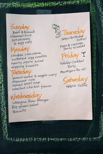 Meal plan, the next week