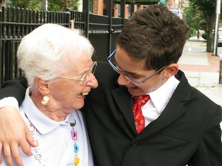 Grandmother laughing with grandson