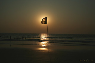 Image of Marjoda Beach. sunset sea bea flag goa smiley lptransparent