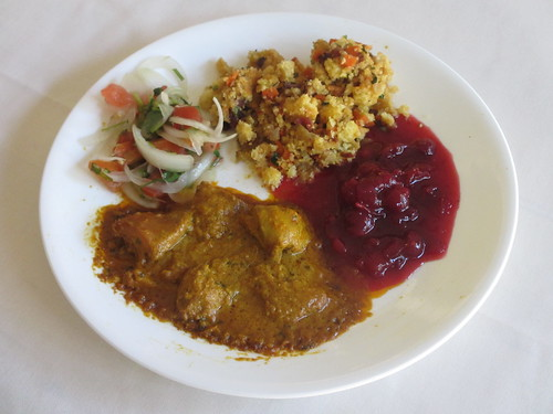 Chicken Curry, Stuffing, Cranberry Sauce and Indian Salad