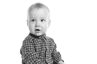 My 1 year old son (B&W)