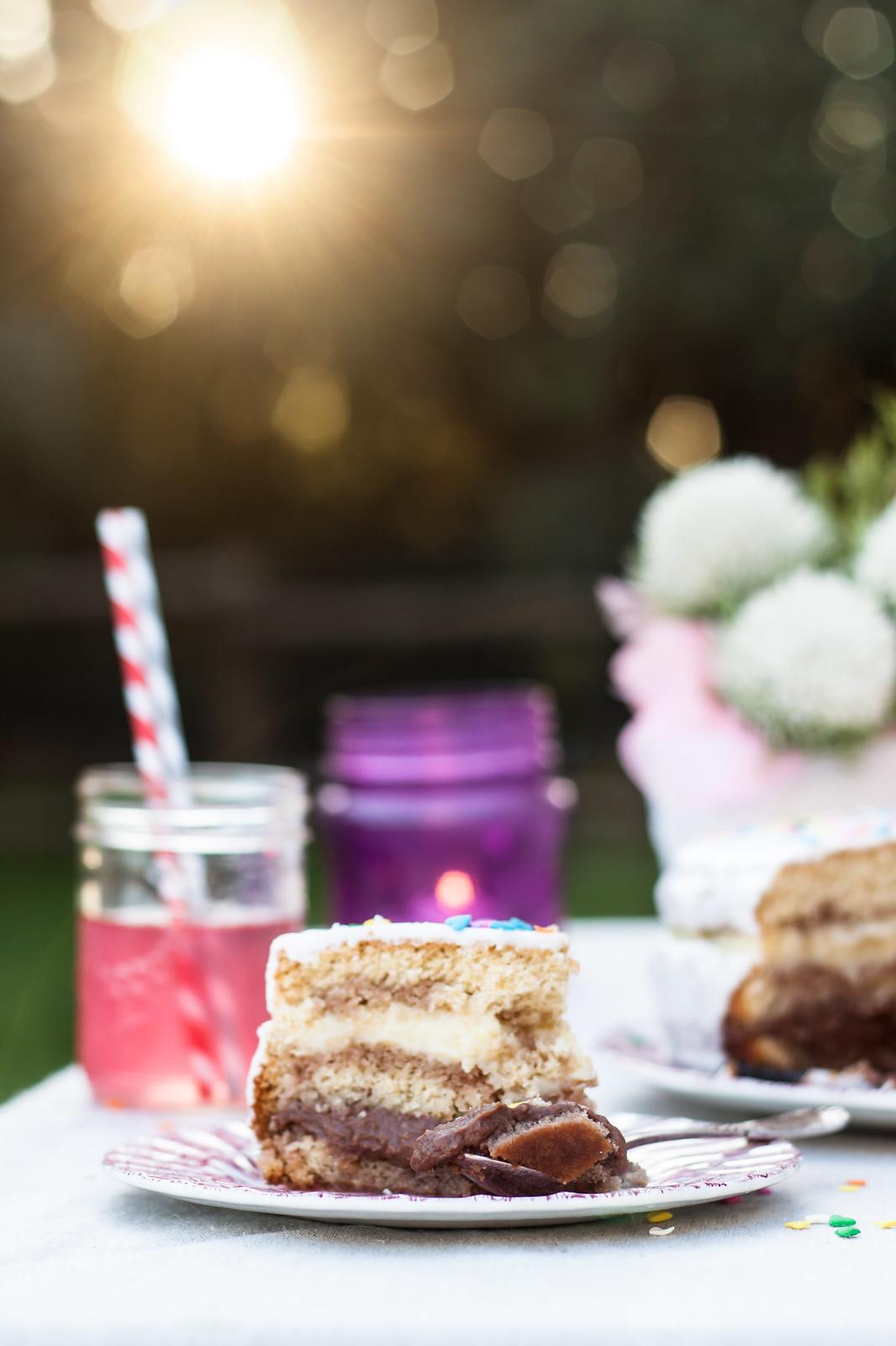 Sponge cake with custard and chocolate