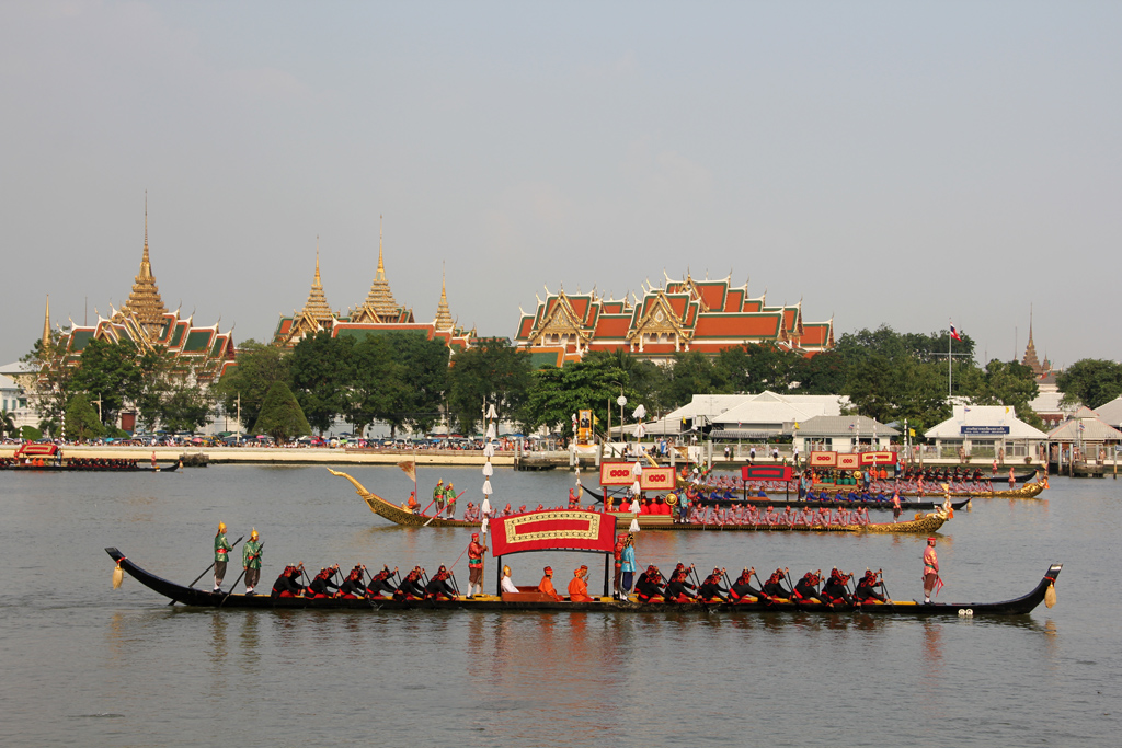 Royal Barges with the Grand Palace in the background