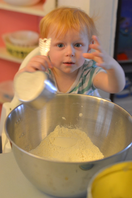 Viv adding the flour