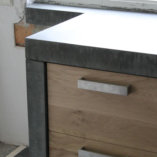 Keuken eiken ikea: koak keuken met ikea kasten en een betonnen ...