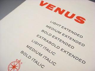 Venus type specimen booklet