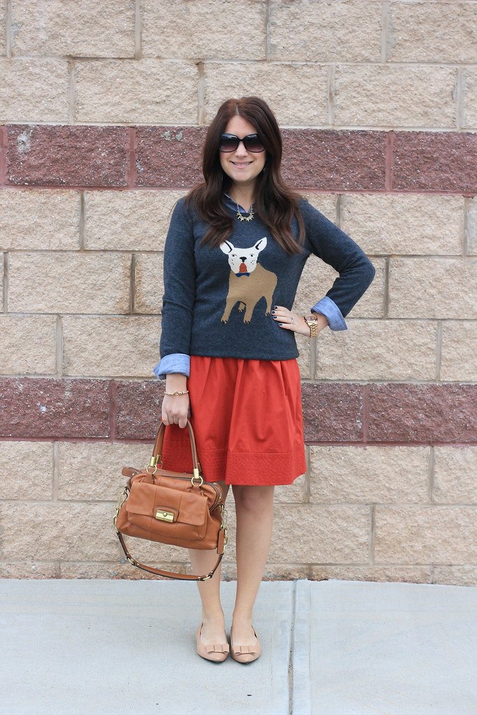 graphic dog sweater work outfit J Crew FRenchie