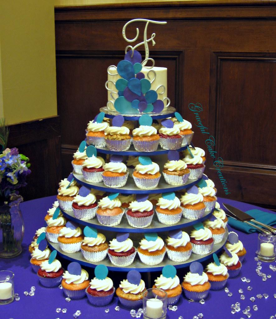 Peacock Themed Cupcake Wedding Cake