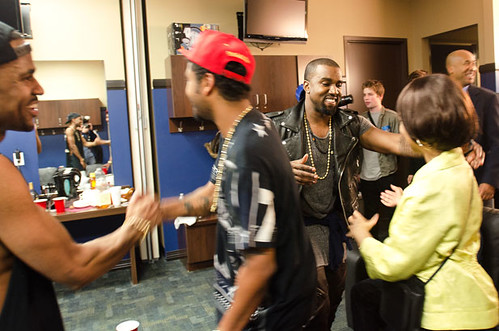 Big Sean's mother and Kanye West after concert at The Palace of Auburn Hills, 12/01/12