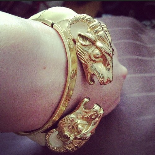 Donald Stannard rams head cuff from tag sale in Port Washington.